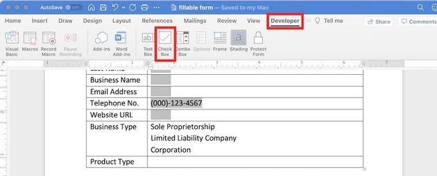 how to make a fillable form in word - check box