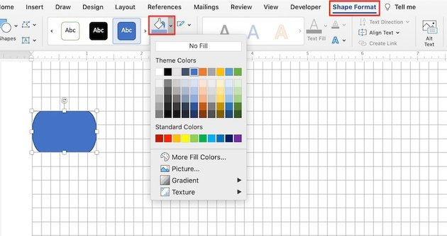 create flowchart in word - format shapes