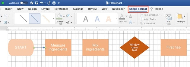 flowchart microsoft word - format arrow connectors