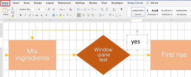how to make a flowchart in word - text box formatting