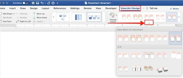 create flowchart in word - smartart effects