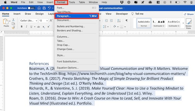 how to make a hanging indent on word