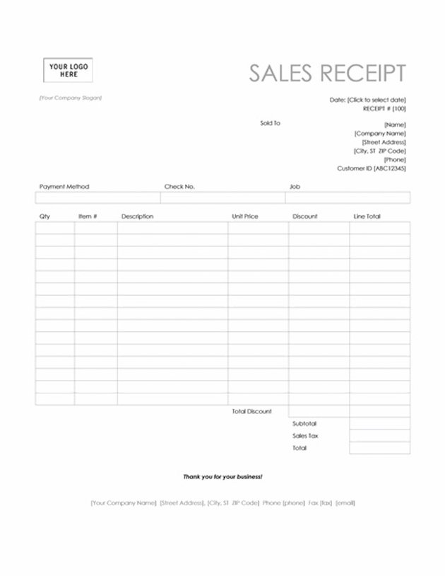 Sales receipt template for Word