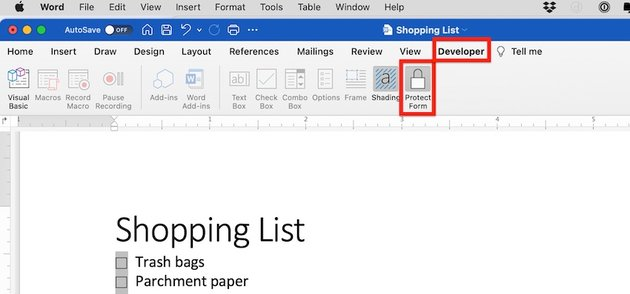 how to make a checklist in word - protect form