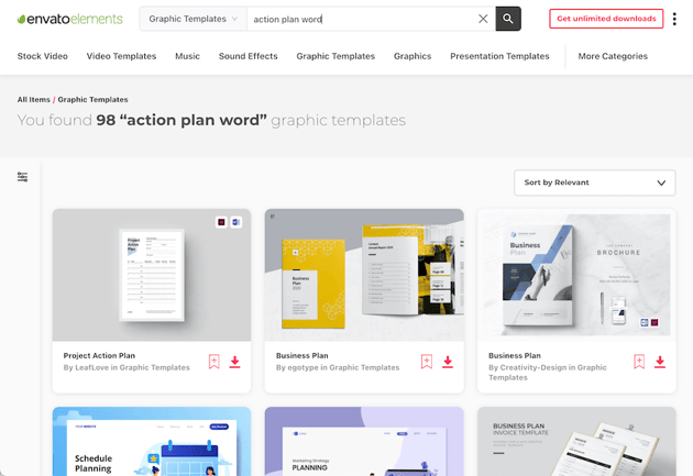 Action plan templates for Word on Envato Elements