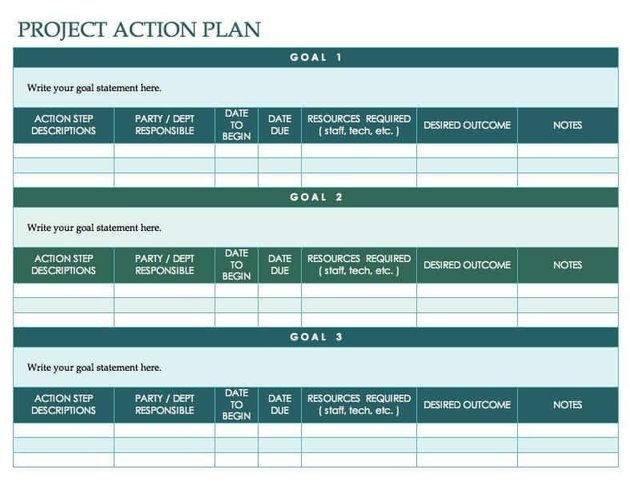 Project Action Plan Template for Word