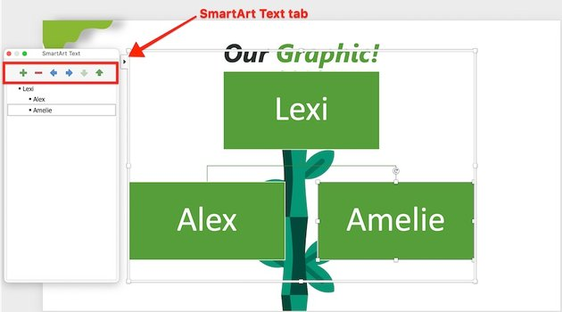 how do you make a family tree on powerpoint - smartart text tab