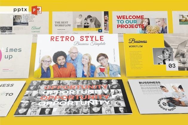 family tree template powerpoint - retro