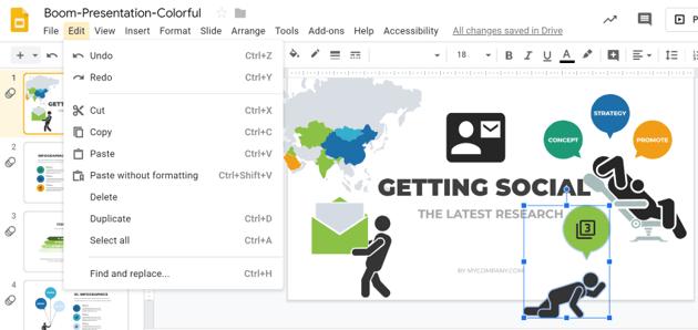 customizing infographic presentation slides