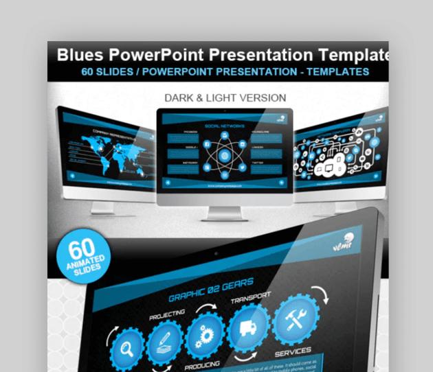 Blues organizational chart template powerpoint