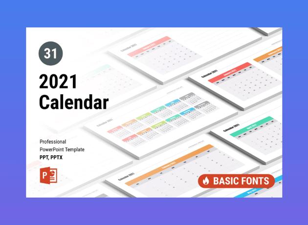Calendar 2021 for PowerPoint