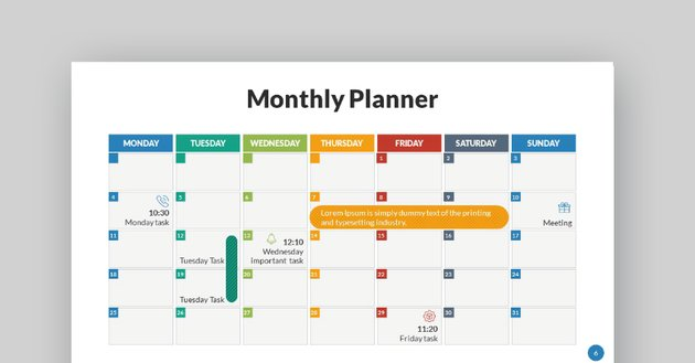 Monthly PowerPoint design template