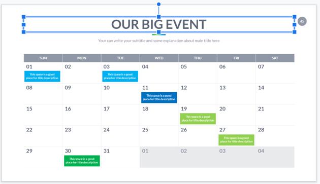 blank calendar template - Google Slides