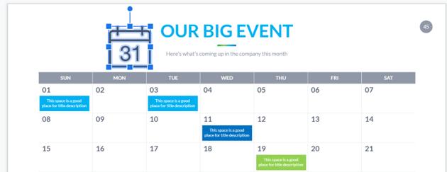 Calendar for Google Slides - resize icon
