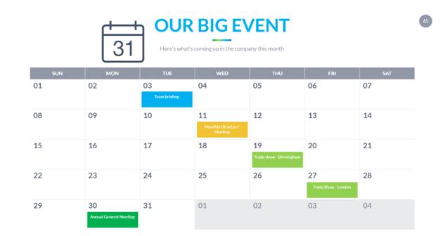 Final Google Slides calendar