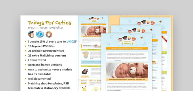 Baby themed Mailchimp newsletter themes