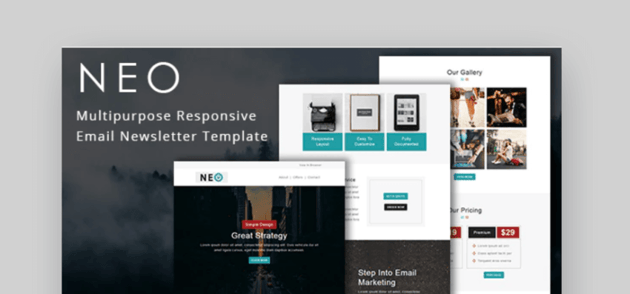 Neo free responsive email template mailchim