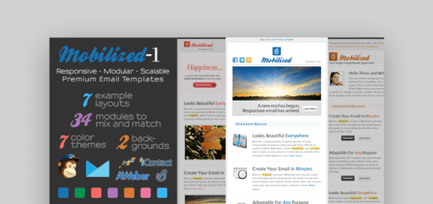 Mobilized corporate email newsletter templates