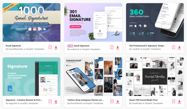 Use Envato Elements to find modern email signature templates