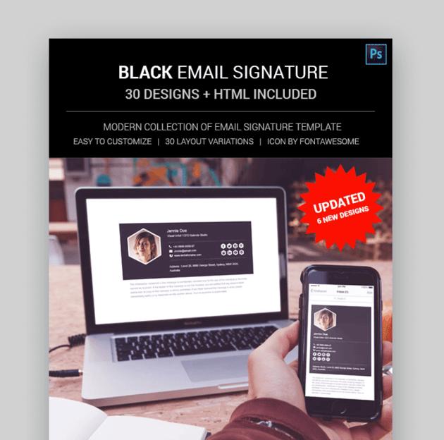 Black template -  beautiful email signatures