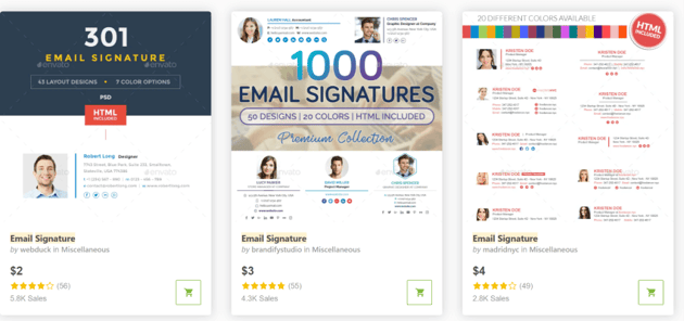 best email signature templates on GraphicRiver