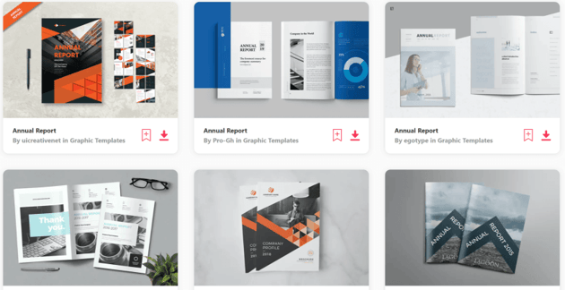 Find annual report templates on Envato Elements