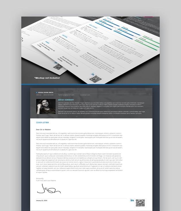 Sharp Adobe InDesign Resume Cover Letter Templates