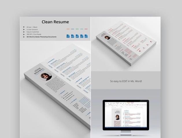 Professional Microsoft Word Resume Template Set