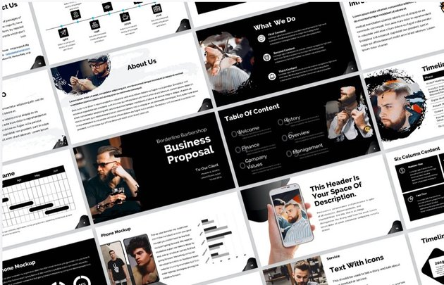 black and white presentation template