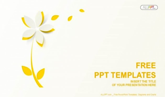 ppt on flowers- Yellow Cutout Paper Flower PowerPoint Templates