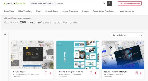 Envato Elements has hundreds of resume Powerpoint templates.