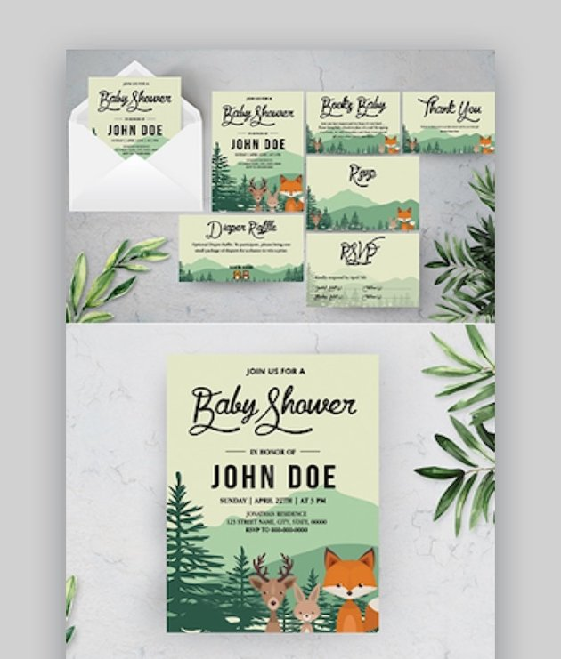 Woodland Baby Shower Template Suite
