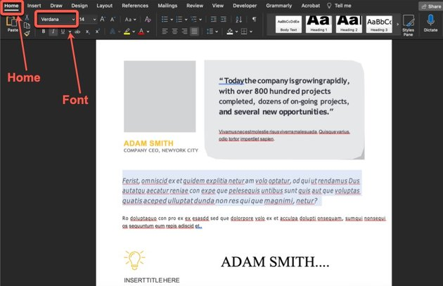 How to change the font type in your annual report template