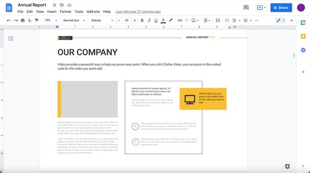 In this tutorial we'll use slide 4 of the annual report template