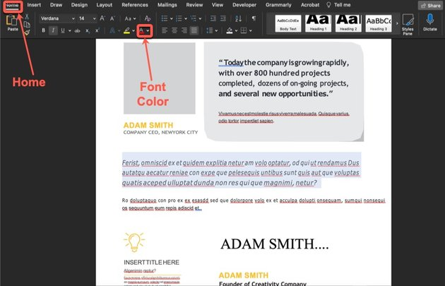 How to change the font color on your annual report slide