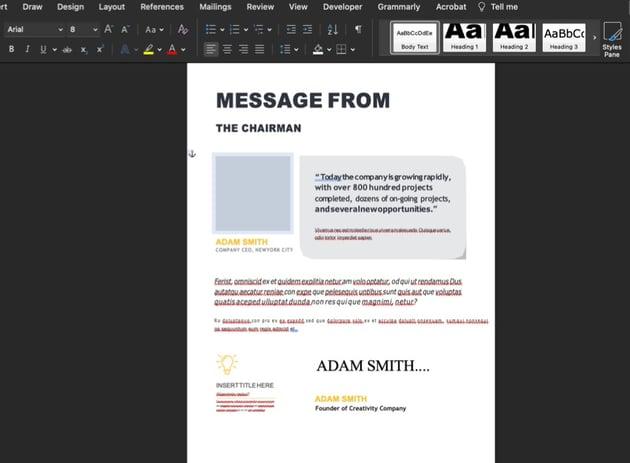Slide 5 of the premium annual report template