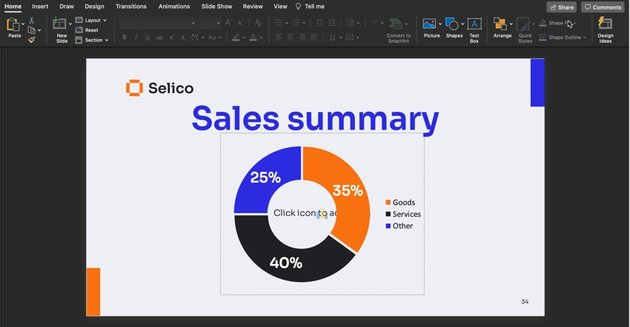 Slide 34 of the sales presentation PPT with no edits.