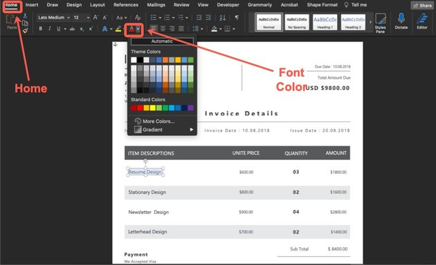 How to change the color of the text on your invoice template.