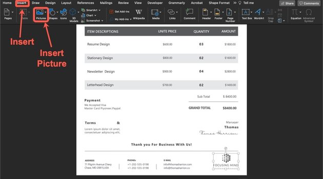 How to add your logo to your invoice template.