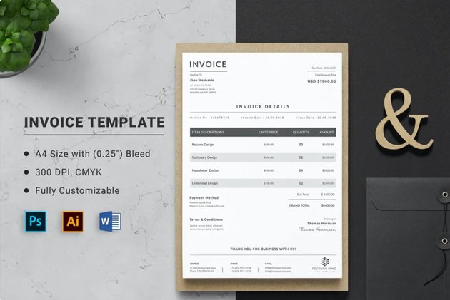 This Microsoft Word Invoice template can be found on Envato Elements.