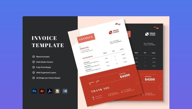 Minimalist invoice template