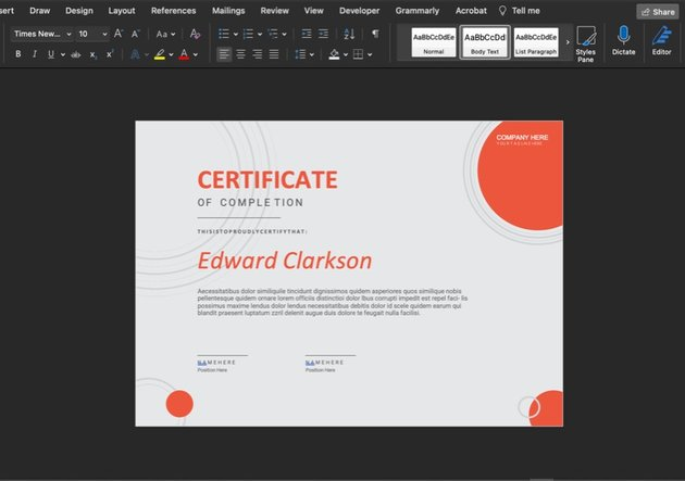 Here is the Edward Clarkson Certificate Template with no edits made.
