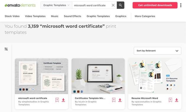 Envato Elements has hundreds of premium Microsoft Word Certificate templates.