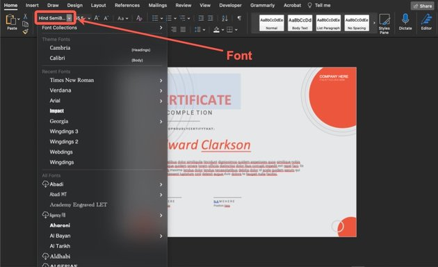 How to change the font.