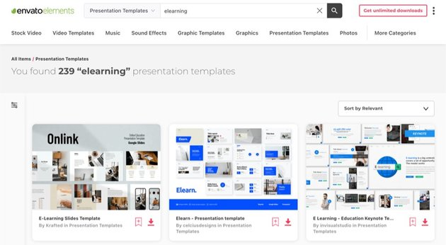 Envato Elements has hundreds of eLearning PowerPoint templates.