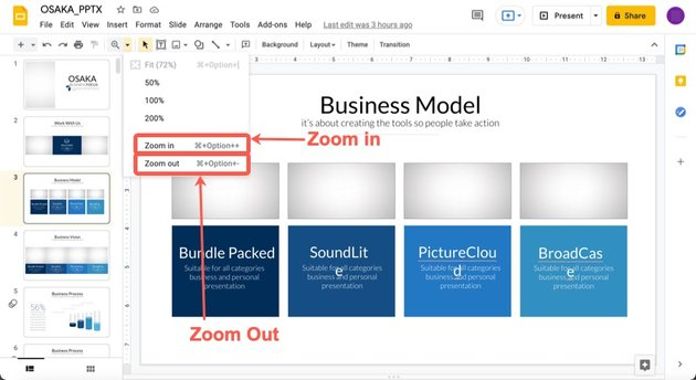 Choose Zoom in or Zoom out from the dropdown menu.