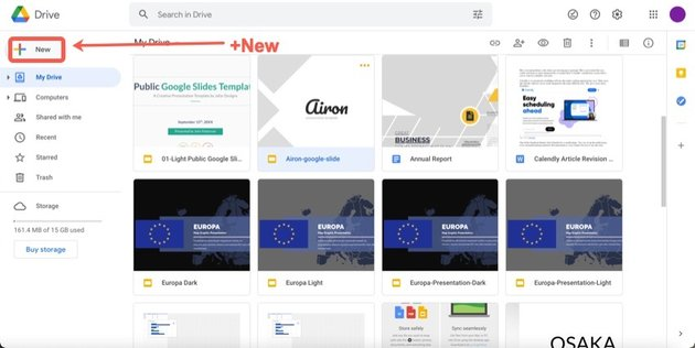 Click on the new button to upload your template into Google Slides.