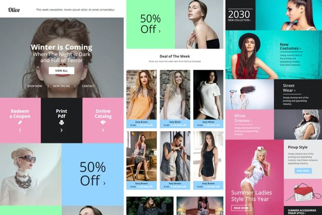 Olive email template has many places for pictures which allows for you to avoid a wall of text.