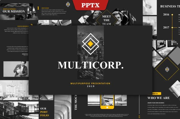 This is a premium multipurpose PowerPoint template from Envato Elements.