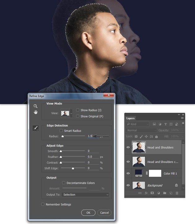 Create a selection of just the head